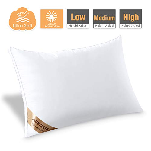 Agedate Adjustable Down Alternative Bed Pillows for Sleeping, Hypoallergenic Microfiber Fill Pillow, Soft Also Supportive, Easy to Care, Relief for Neck and Headache Pain, Queen Size