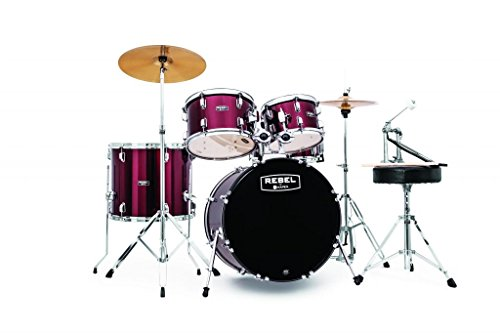 MAPEX RB5044FTCDR Rebel 5-Piece Drum Set with Hardware and Cymbals Dark Red with 20-Inch Bass Drum