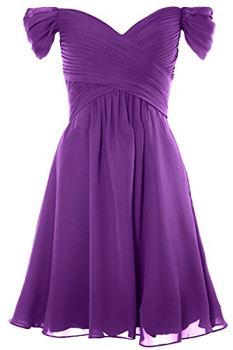 Dress Wedding Women Short Shoulder Party Gown Formal Cocktail Amethyst 2018 Off MACloth I7wqC66