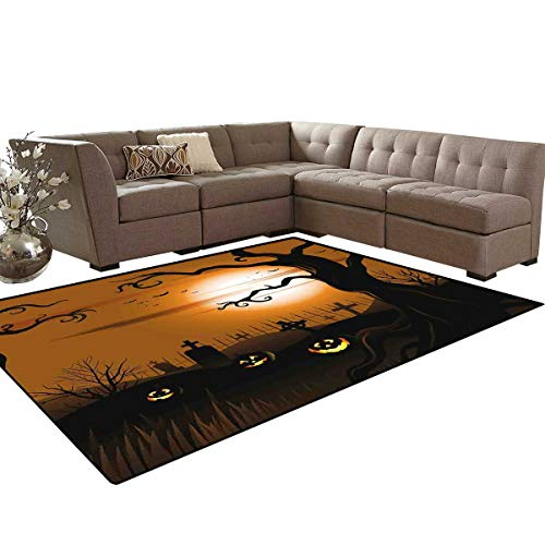 Halloween Anti-Skid Area Rugs Leafless Creepy Tree with Twiggy Branches at Night in Cemetery Graphic Drawing Customize Door mats for Home Mat 6'x8' Brown Tan]()