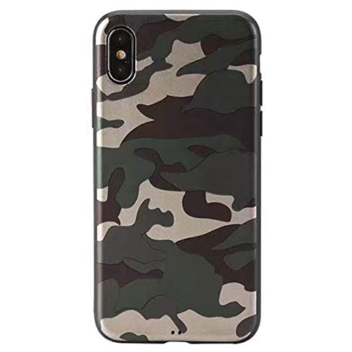 Soft Case for iPhone Xs Max Camouflage Slim Flexible TPU Silicone Rubber Back Protective Cover Skin Snap On (Army Green) (Camera Camouflage Case)