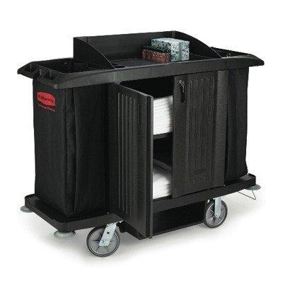 Rubbermaid 6190BLA Multi-Shelf Cleaning Cart, Three-Shelf, 22w x 49d x 50h, Black