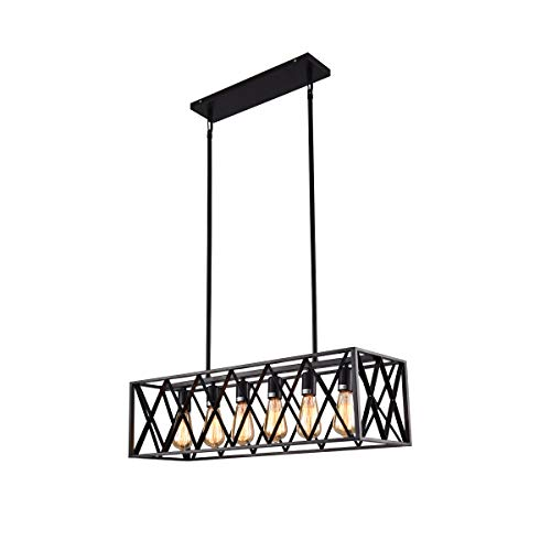 Tone Rectangle Pendant - mirrea Vintage Pendant Light Fixture 6 Lights in Rectangle Frame Shade Matte Metal Black Painted Finish