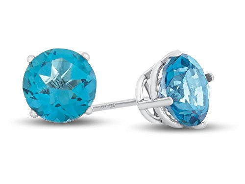 Stone Post Round (Finejewelers 10k White Gold 7mm Round Coated Paraiba Topaz Post-With-Friction-Back Stud Earrings)