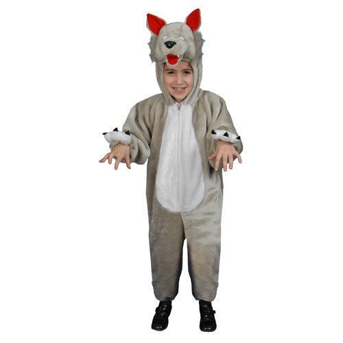 Kids Plush Wolf Costume Set - Small 4-6