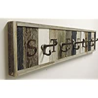 Personalized Reclaimed Wood Coat Rack Barn Wood hooks