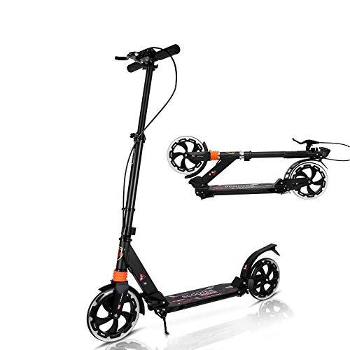 MONODEAL Scooter para niños de 8 años en adelante, adolescentes, adultos, patinete de rueda grande patinete plegable y ligero con alturas ajustables, con freno de mano y freno trasero