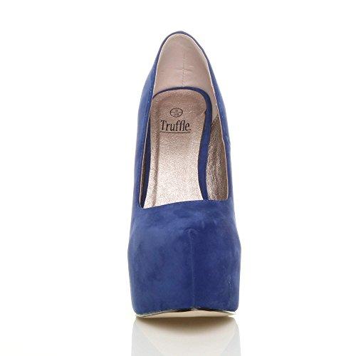 Damen Sehr Hoher Absatz Verdeckter Plateausohle Party Pumps Schuhe Größe Kobaltblau Wildleder