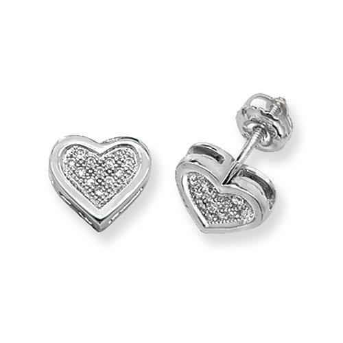 Diamant Coeur Boucles d'oreilles clous Femme-Or blanc 9Ct SI2-I10.12ct