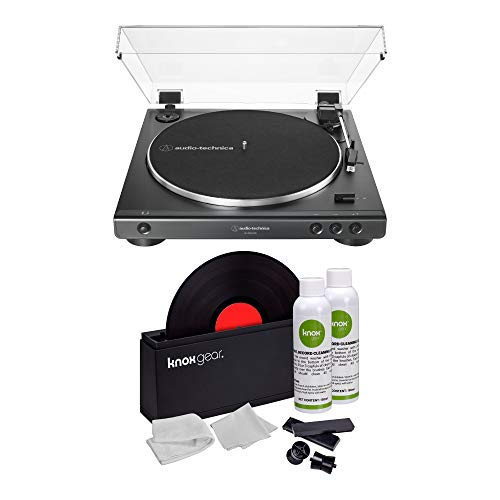 Audio-Technica AT-LP60XUSB USB Fully Automatic Stereo Turntable (Black) and Knox Gear Vinyl Record Cleaning Kit