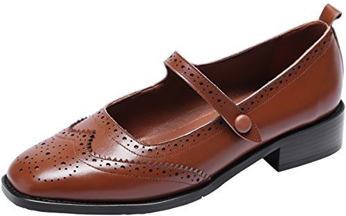U-lite Women's Perforated Wingtip Brogues Leather Flat Oxfords Mary Jane Flats Oxford Shoes Brown 6