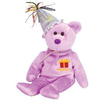 TY Beanie Baby - FEBRUARY the Teddy Birthday Bear (w/ hat) by Beanie Babies