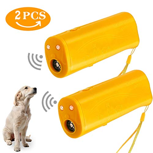 Z-H-C New Upgrade Handheld LED Ultrasonic Dog Repeller and Trainer Device, 3 in 1 Portable Stop Barking Bark Controller with LED Flashlight, No Harm Dog Training Tool- 2PACK