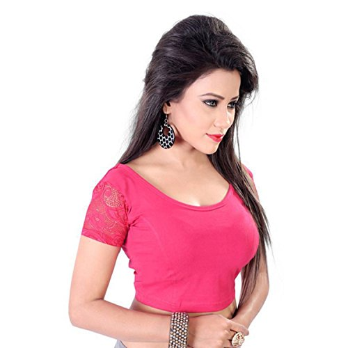 Fressia Fabrics Readymade free Size saree blouse for women party wear choli (ranipink)
