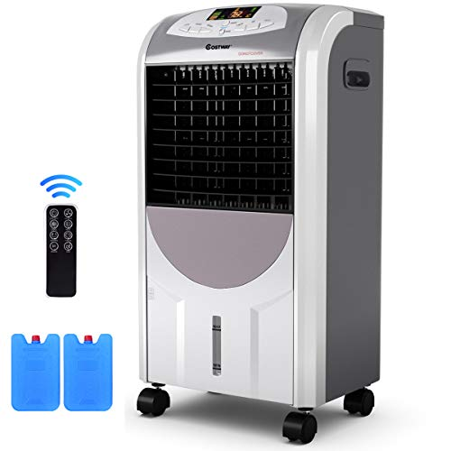 COSTWAY Air Cooler and Heater, Compact Portable Air Conditioner with Fan Filter Humidifier Ice Crystal Box Remote Control, Air Cooler and Heater for Indoor Home Office Dorms(29.5