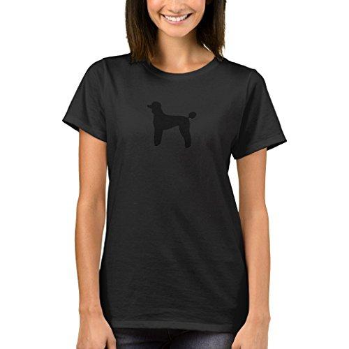 Zazzle Women's Basic T-Shirt, Poodle (Standard, Lamb Cut) T-Shirt, Black (Cut Black Poodle T-shirt)