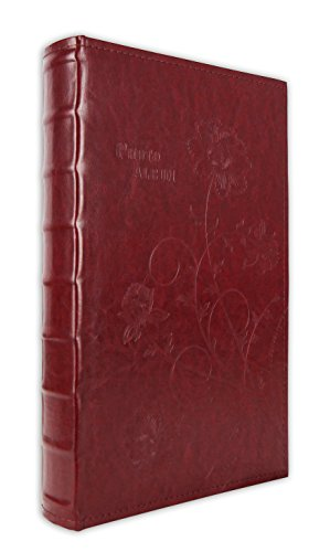 - Golden State Art, Maroon Floral Faux Leather Cover Photo Album 300 4x6 Pictures, 3 Per Page