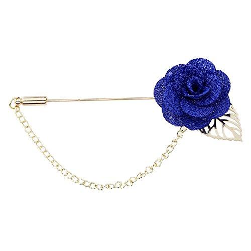 Winter's Secret Blue Camellia Flower Corsage Simple Hollow Alloy Leaf Tassel Men's Suits Pin Brooch