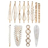 12 Pack Korean Gold Vintage Retro Geometric Minimalist Pearl Stone Metal Hair Clip Decorative Bobby Pins With Teeth Snap Barrette Comb Stick Claw Crab Clamp Bobby Pins Alligator Hairpins Wedding Party