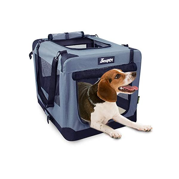JESPET Soft Dog Crates Kennel for Pets, 3 Door 26″ Soft Sided Folding Travel Pet Carrier with Straps and Fleece Mat for Dogs, Cats, Rabbits