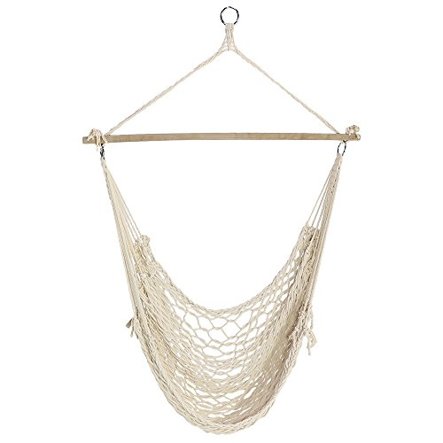 Sunnydaze Cotton Rope Hanging Hammock Chair Swing, 48 inch Wide Seat, Max Weight: 330 pounds by Sunnydaze Decor