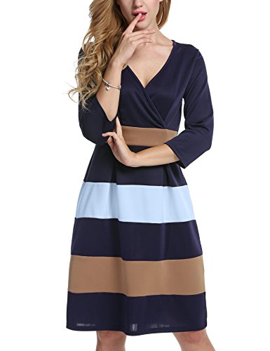 Meaneor Women's Slimming 3/4 Sleeve Fit-and-Flare Crossover Tummy Control Dress Blue M