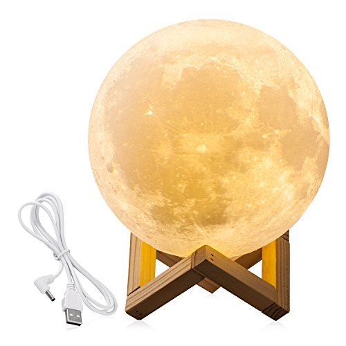 7.1INCHS CPLA Lighting Night Light LED 3D Printing Moon Lamp, Lunar Lamp Warm and Cool White Dimmable Touch Control Brightness with USB Charging, Home Decorative Lights Baby Night Light
