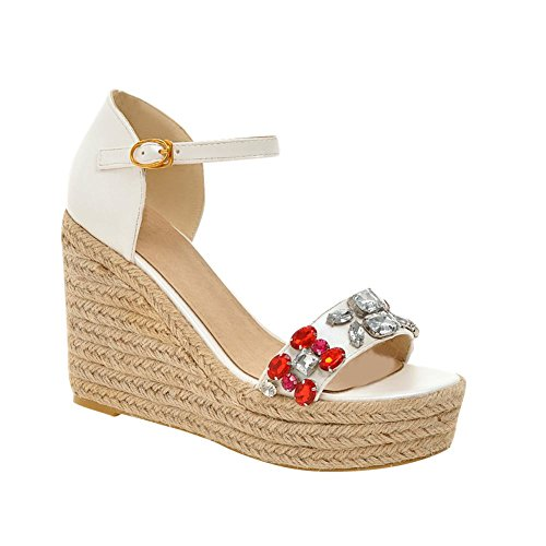 Carolbar Womens Buckle Sweet Fashion Dress Platform Rhinestones Open-Toe Wedges Sandals White