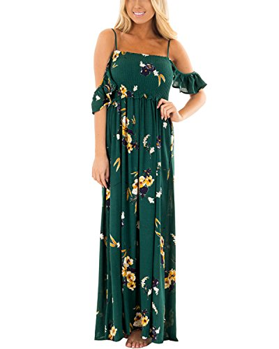 AUTCY Long Maxi Chiffon Rayon Strappy Floral Print Smocked Empire Waist Maternity Pleated Plus Size Summer Casual Dress for Women Green L (Dresses Empire Smocked)