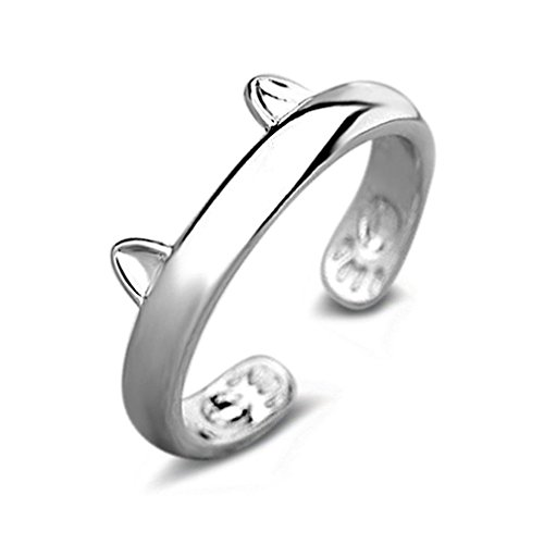 Rings,ZYooh Silver Plated CAT Ears Ring Thumb Wrap Rings Adjustable Rings Jewelry Gift (Silver, Adjustable)