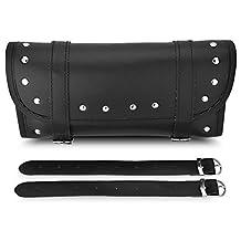 Qiilu Black PU Leather Motorcycle Motorbike Front Rear Fork Tool Bag Handlebar Bags Luggage Saddlebag Pouch Roll Barrel Shape