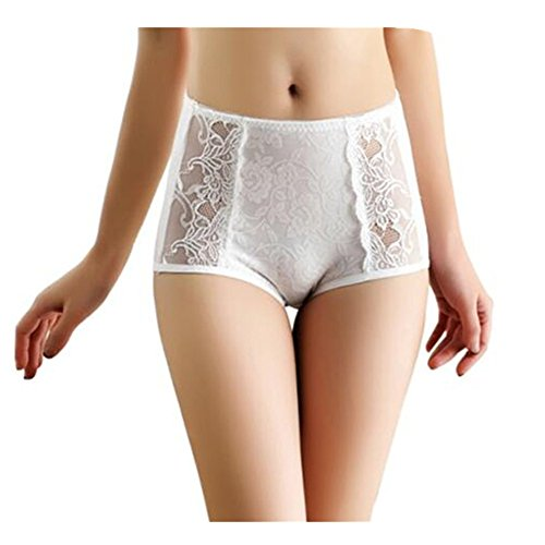 Women's Comfort Stretch High Waist Panties Sexy Printed Flexible Fit Underwear (White)