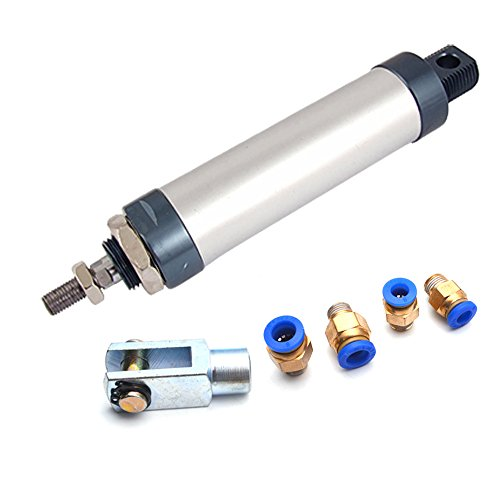 Sydien 100mm Stroke 32mm Bore Aluminum Alloy Mini Air Cylinder with Y Connector and 4Pcs Pneumatic Quick Fitting (MAL32x100) ()