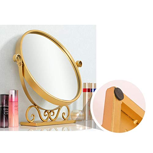 WXF Vanity Mirror Gold, Nordic Style Metal Framed Countertop Cosmetic Mirror Rotation Free Standing Bedrooms Furniture Mirror (Size : 38x12x60cm)