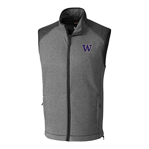 Cutter & Buck NCAA Washington Huskies Adult Men Cedar Park Full Zip Vest, Medium, Charcoal Heather