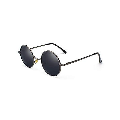Gafas de Sol Redondas Negras Retro Gafas de Sol polarizadas ...