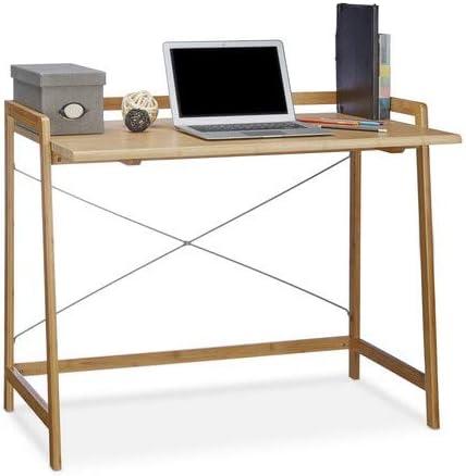 Relaxdays Escritorio, Mesa para Ordenador, con cruceta, Bambú, 80 ...