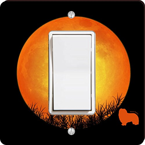 ingle Rocker Shetland Sheepdog Dog Silhouette By Moon Design Light Switch Plate ()