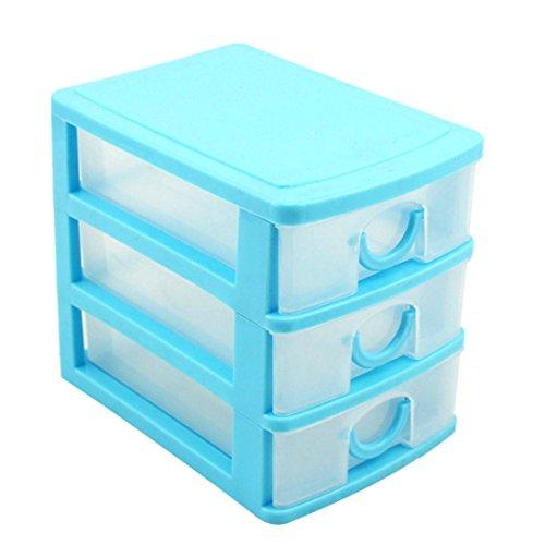 haoun 3-Tier Mini Desktop Organizer Drawer Type Storage Box - Pink (Blue) - Mini Drawers Storage