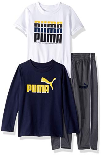 (PUMA Toddler Boys' Tricot Pant Set, Peacoat, 4T )