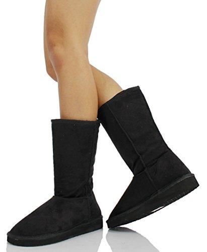 Women's Comfort Calf Fur Mid Flat Soong Suede Boot Faux Soda BqEdB