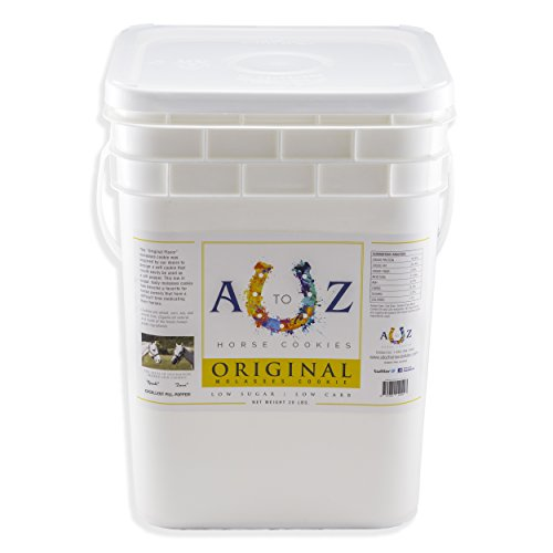 Horse Cookie Treat: Original Flavor by A - Z Horse Cookies, Low Carb Low Sugar Softer Treats, Organic, Great For All Horses And Excellent For Those With Metabolic Conditions, 20 lbs Pail by A to Z Horse Cookies
