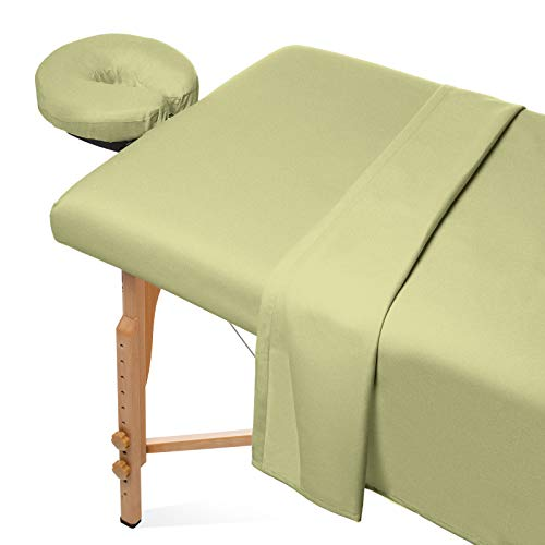lannel Massage Table Sheet Set - Soft Cotton Facial Bed Cover - Includes Flat and Fitted Sheets with Face Cradle Cover - Sage Green ()