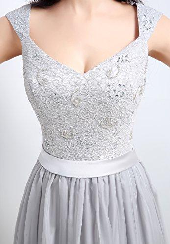 Senza linea grigio Bridal ad argentato a maniche Vestito Mall Donna Wq8an4XC