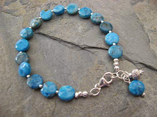 Blue Agate Artisan Gem - Caribbean Blue Agate Gemstone Sterling Silver Bracelet with Dangling Charms Artisan Jewelry