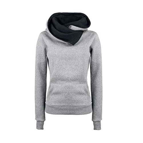 Coversolate Pullover capa de las mujeres de manga larga con capucha suéter de algodón con capucha Gris