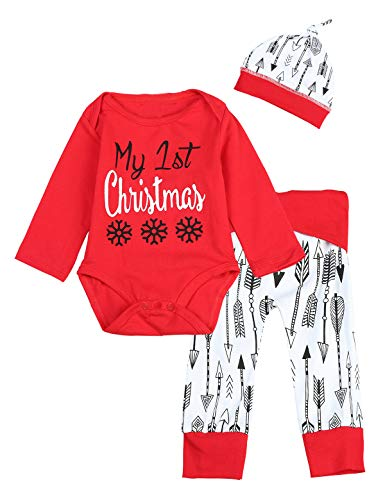 3PCS Baby Boys Girls My First Chirstmas Snowflake Arrow Print Romper (0-3 Months, Red) ()