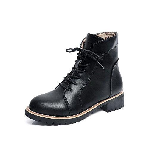 Runde Lukket Boots Tå Lave Pu up Solide Black Agoolar Hæler Blonder Kvinners wqBXw6I
