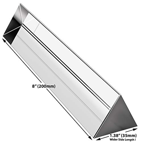 Amlong Crystal 8 inch Optical Glass Triangular Prism for Teaching Light Spectrum Physics and Photo Photography Prism, 200mm ()