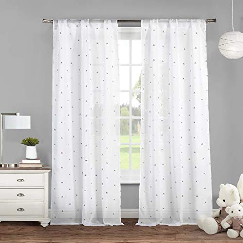 Lala + Bash Trina Metallic Pole Top Window Curtain Drapes for Bedroom, Livingroom, Kids Room, Children, Nursery-Assorted Colors-Set of 2 Panels, 38 x 84 Inch, White & Silver ()